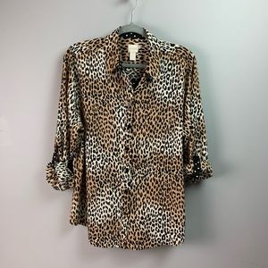 Chico's mixed print button down